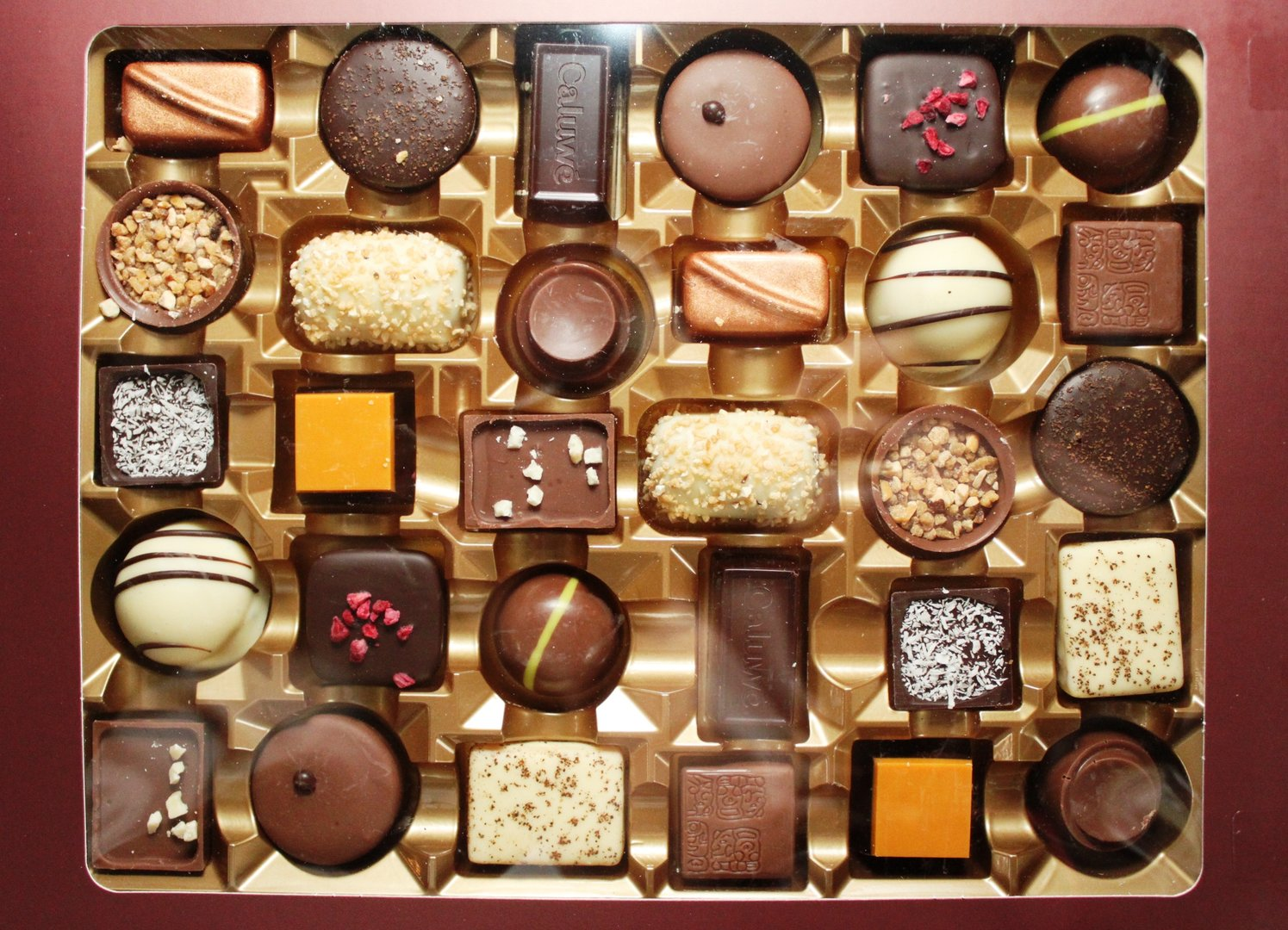 Caluwe Artisan Belgium Chocolates; selection may vary from image