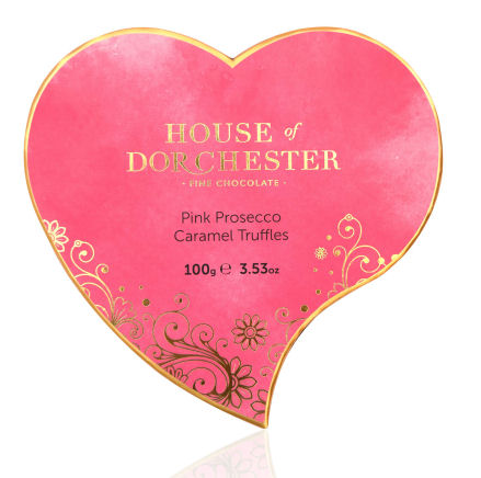 The House of Dorchester Heart Box Pink Prosecco Truffles