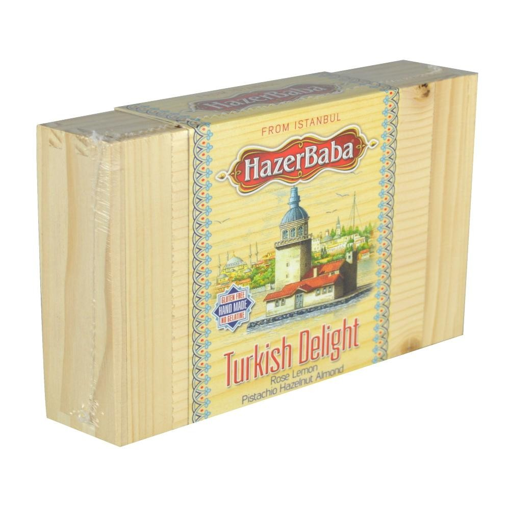 Hazer Baba Assorted Turkish Delight 454g Wooden Cigar Box