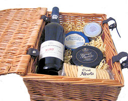 Christmas Cheeses And Port In Wicker Hamper