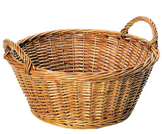 Large Round Wicker Basket with Handles