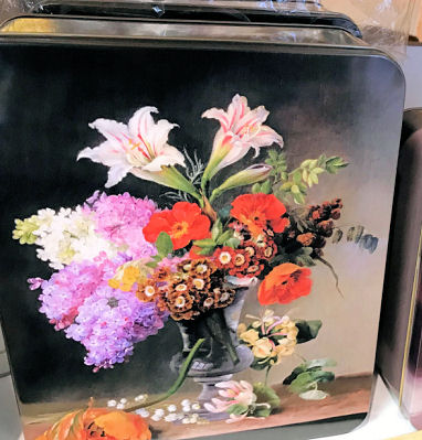 Moores Assorted Biscuits in Floral Display Tin