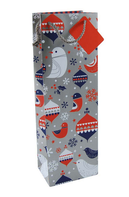 1 Bottle Wine Bag in Christmas Birds Design