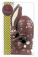 De Schutter Milk Chocolate Rabbit Holding Egg 300g