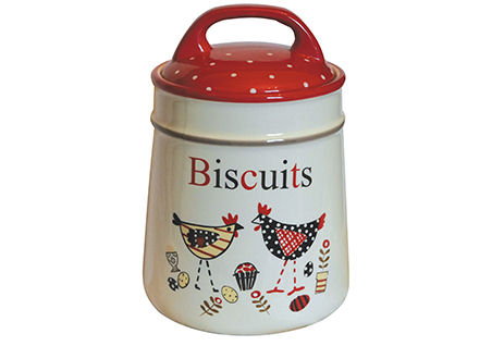 Grandma Wilds Red and White Hen Ceramic Biscuit Barrel