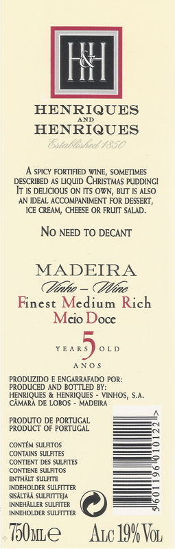 Henriques Madiera Medium Rich Madeira 50cl