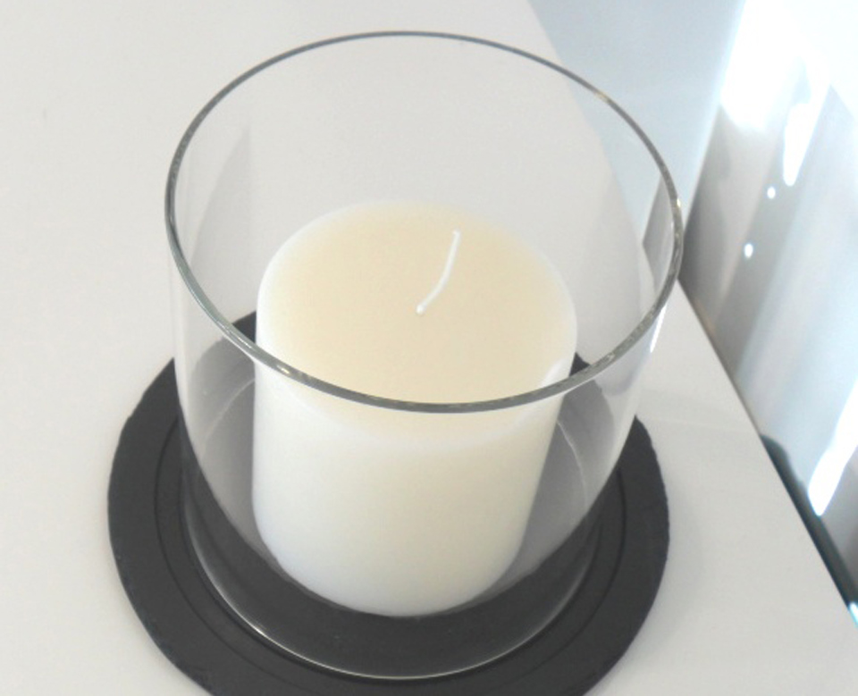 Just Slate Pillar Candle