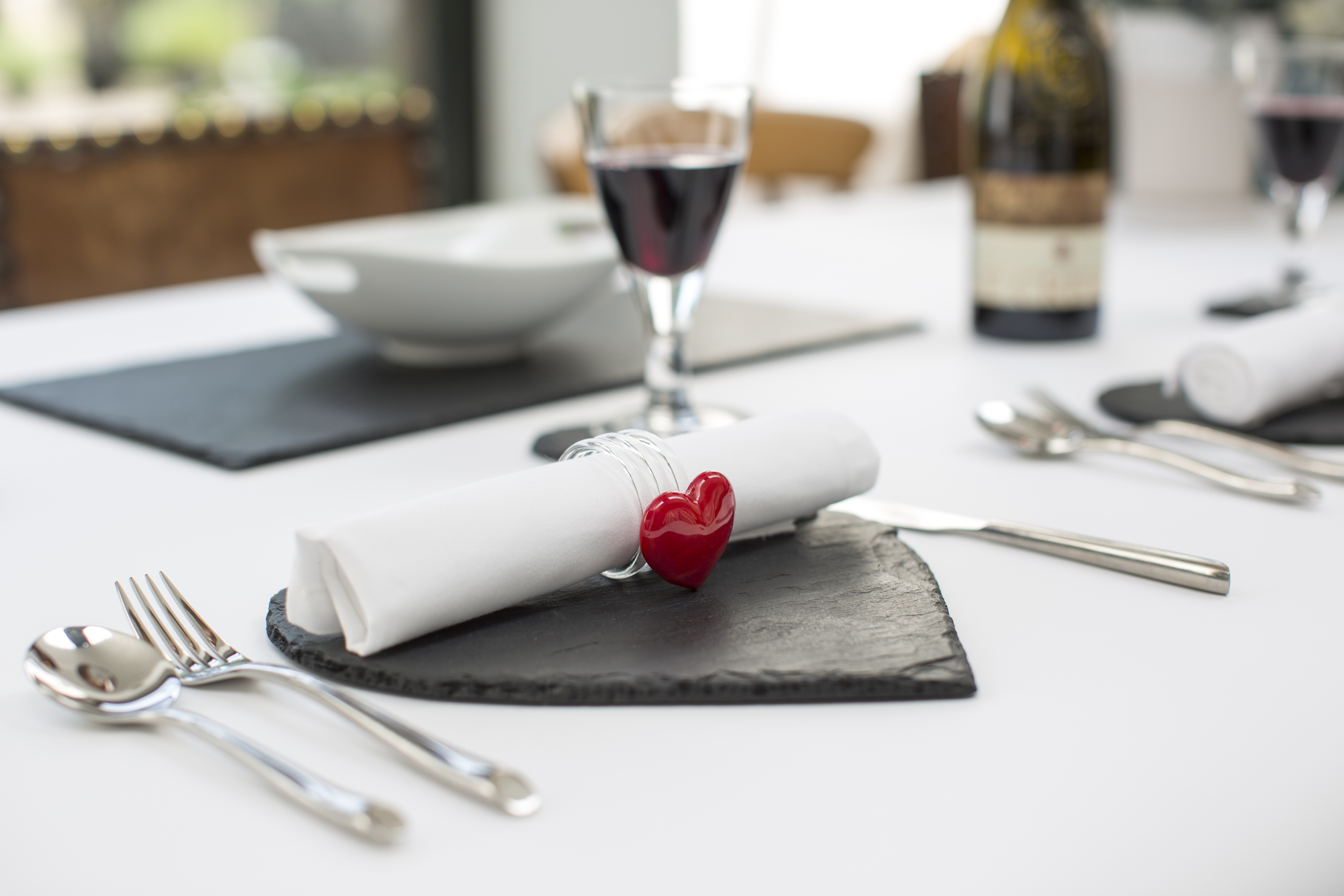 Just Slate Glass Napkin Rings in Heart design