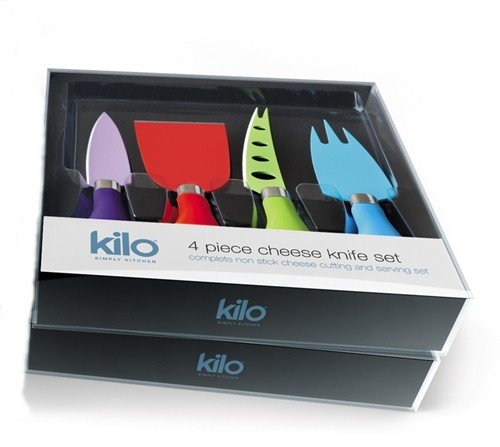 Kilo Cheese Knives 4pc in box; Image shows 2 boxes