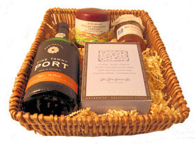 Tawny Port And West Country Chedder Wicker Tray