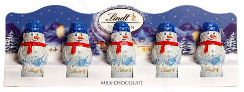 Lindt Milk Chocolate Snowmen 5pc (image 1)