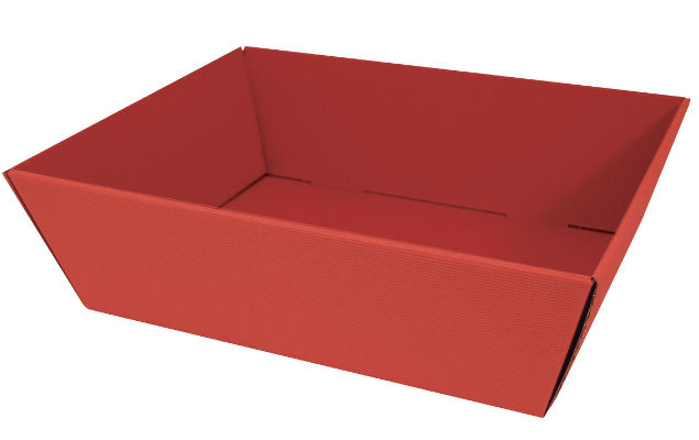 Large Fluted Hamper Tray In Red