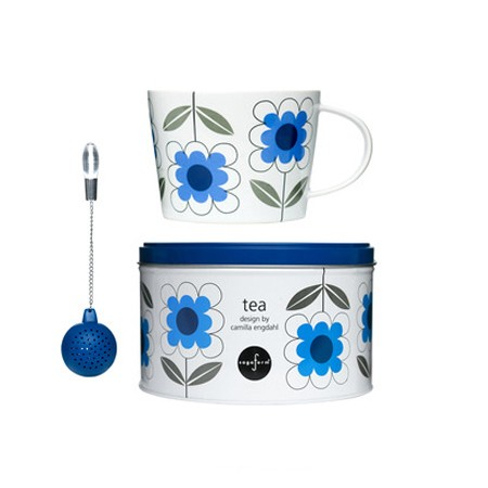 Sagaform Tea Set with Strainer in Daisy Blue