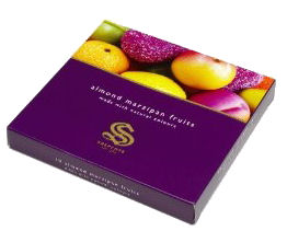 Shepcote Marzipan Fruits 110g Purple Box (image 1)