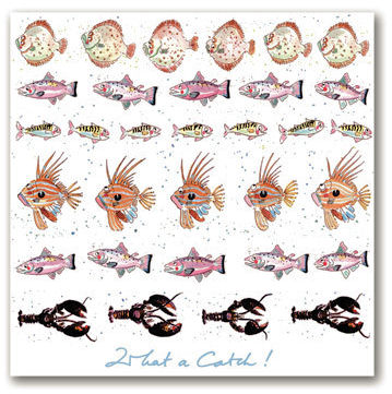 Sophie Allport Greeting Card - What A Catch! Fishes (image 1)