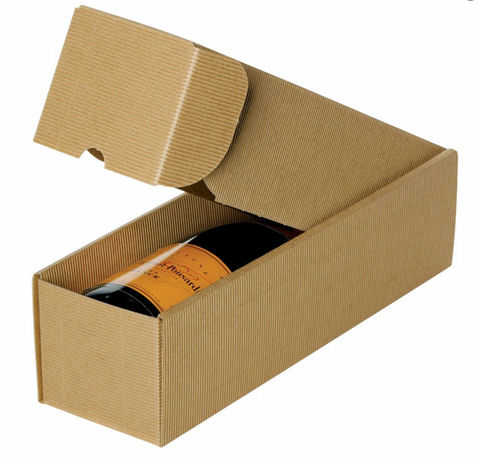 1 Bottle Gift Box - Fluted Cardboard