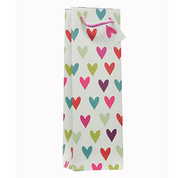 1 Bottle Wine Bag in Hearts Design (image 1)