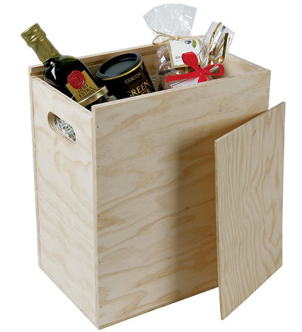 Six Bottle Wooden Hamper Box With Drop On Lid
